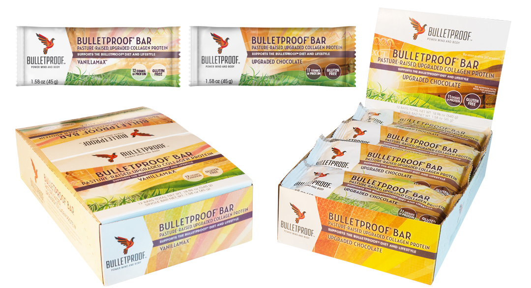Bulletproof packaging design nutrition, Collagen Protein Bars