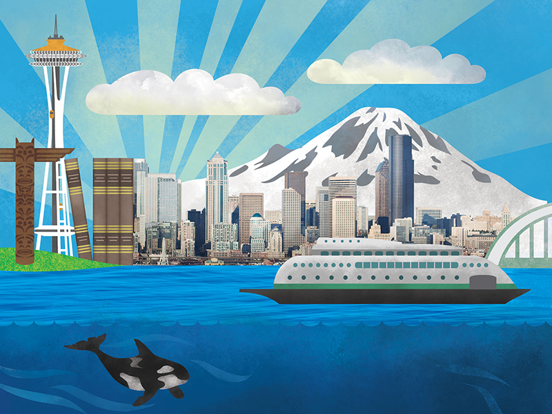 Illustrated infographic artwork, with downtown Seattle, Mt Rainier, ferry, and legal books