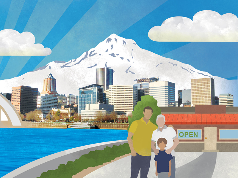 Illustrated infographic artwork and photography, Portland, Mt Hood, small business, family business