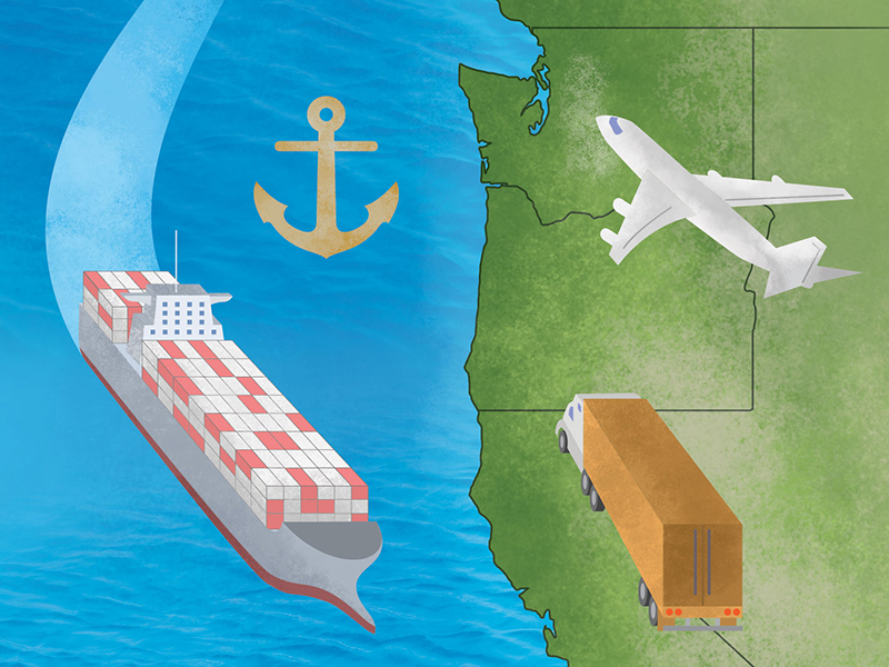 Infographic illustration artwork, West coast, shipping transportation and maritime