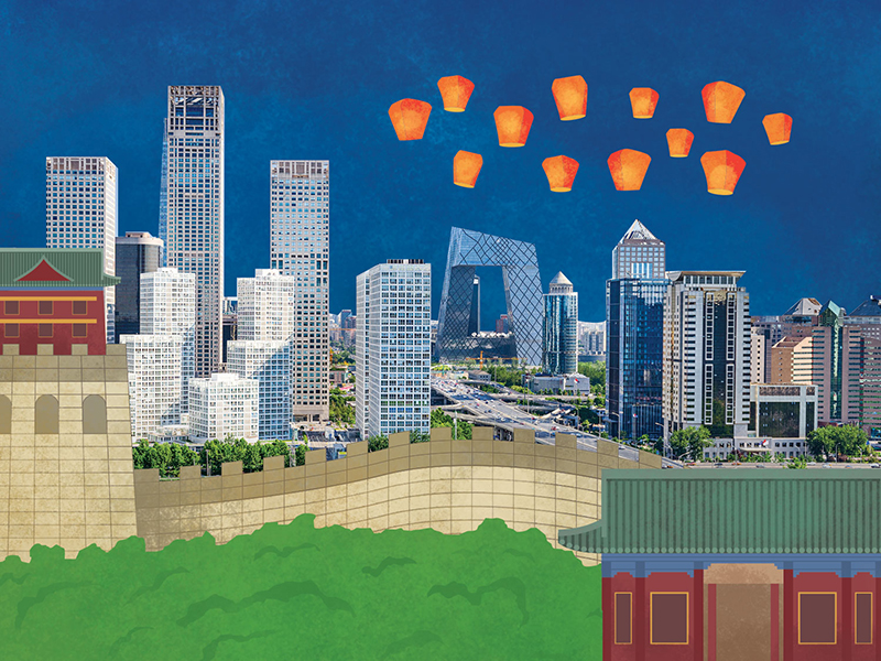 Infographic illustration artwork, international law showing downtown Beijing, China