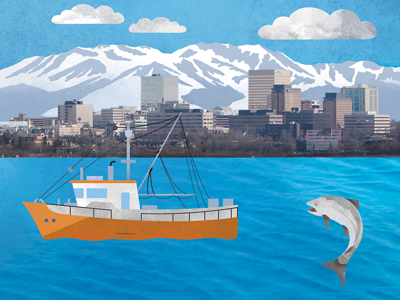 Infographic illustration artwork and photography for GSB Law Alaska, maritime and fishing industries
