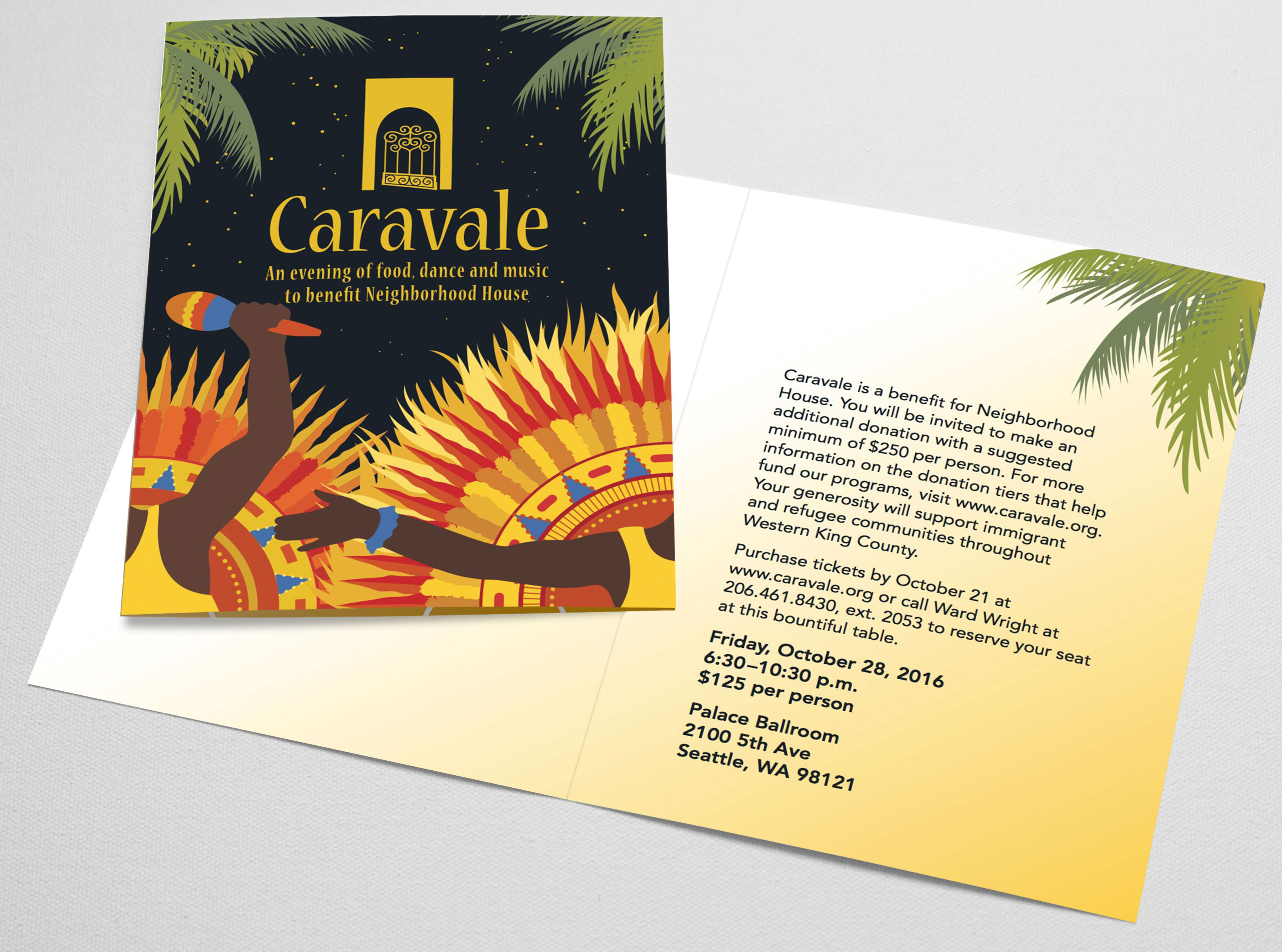Invitation for Caravale 2016 featuring original artwork inspired by Caribbean carnivals