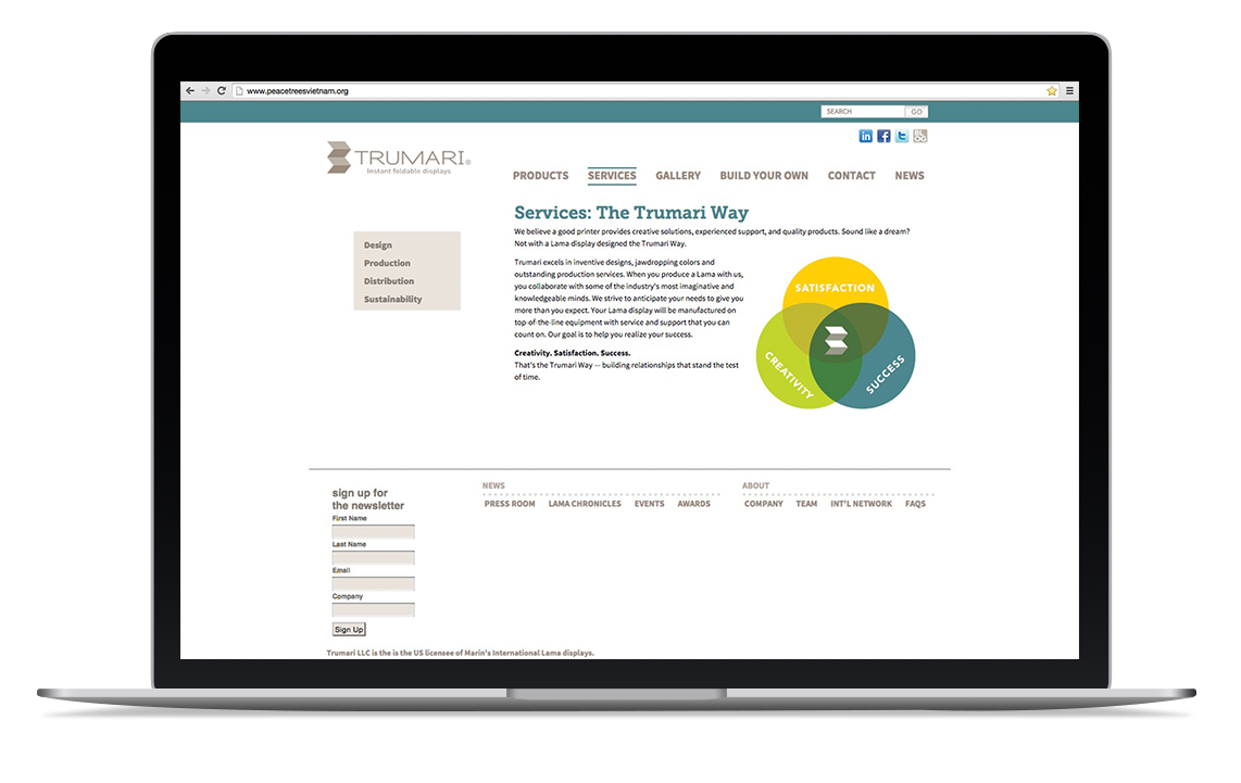 Trumari Instant Foldable Displays website design including product catalog, services, photo galleries and an interactive build-your-own feature