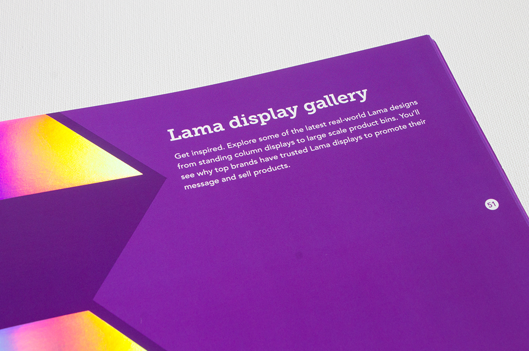 Lama Displays by Trumari printed catalog showcasing litho printing, special effects and die-cutting also available for display production